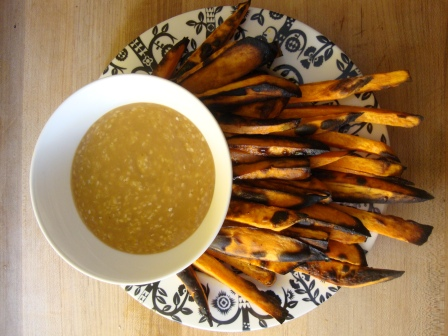 Yam Fries with Miso Gravy https://bigsislittledish.wordpress.com/2010/08/02/yam-fries-with-miso-gravy/