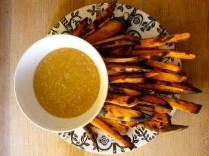 Yam Fries with Miso Gravy https://bigsislittledish.wordpress.com/2010/08/02/yam-fries-with-miso-gravy/
