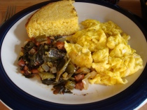 collards with corn bread and egg