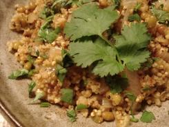 Coriander-Scented Millet and Mung Bean Pilaf https://bigsislittledish.wordpress.com/2011/01/31/jain-coriander-scented-millet-and-mung-bean-pilaf-with-homemade-ghee/
