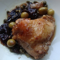 Chicken baked with Prunes, Capers and Green Olives