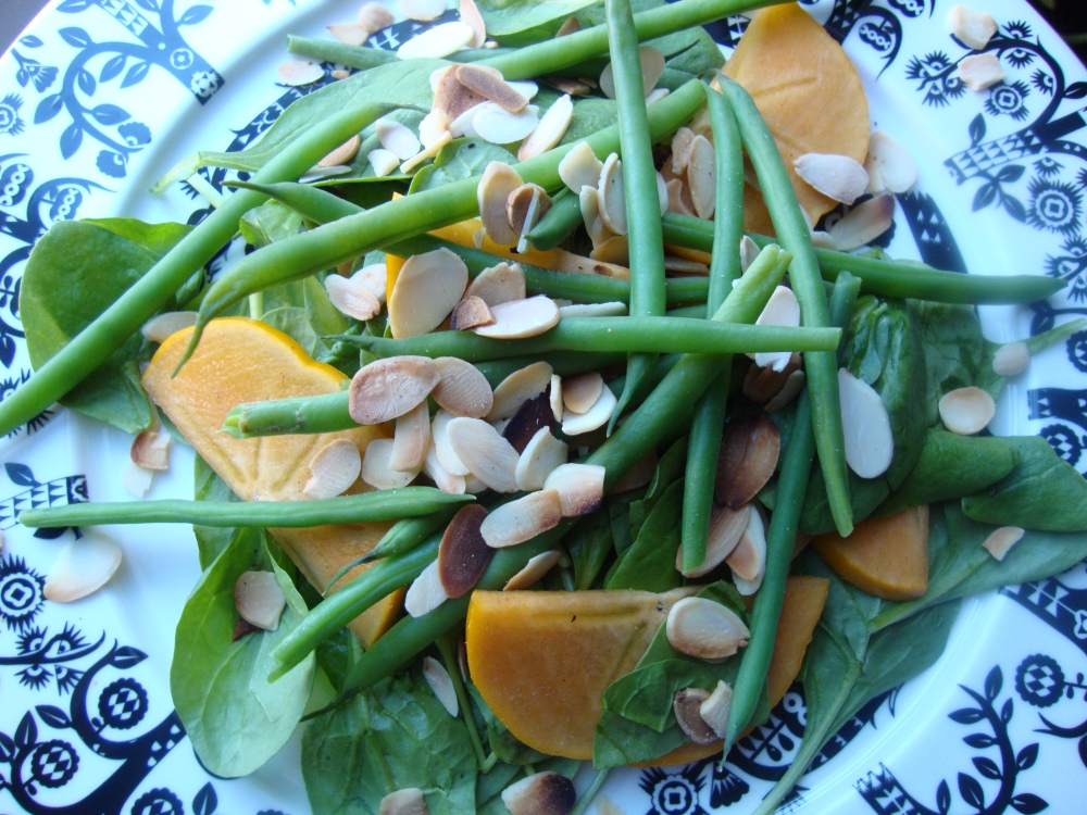 Spinach Salad with Fuyu Persimmons, Green Beans, Toasted Almonds and Spiced Vinaigrette