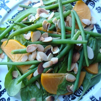 Spinach Salad with Fuyu Persimmons, Green Beans, Toasted Almonds and Spiced Vinaigrette https://bigsislittledish.wordpress.com/2011/11/04/spinach-salad-with-fuyu-persimmons-green-beanstoasted-almonds-and-spiced-vinaigrette/