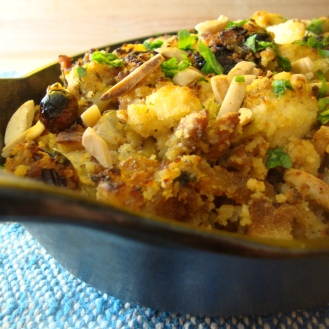 Cornbread, Fruit, Almond, Olive, Stuffing https://bigsislittledish.wordpress.com/2011/11/17/cornbread-fruit-almond-and-olive-stuffing-gluten-free/