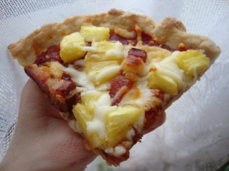 Gluten-Free Pineapple Ham Pizza https://bigsislittledish.wordpress.com/2011/12/17/the-lure-of-pineapple-and-ham-pizza/