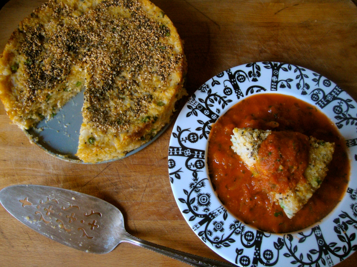 Savoury Indian Dumpling Cake in a Tangy Tomato Sauce (Handavo)