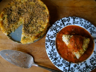 Savory Indian Dumpling Cake https://bigsislittledish.wordpress.com/2012/01/18/savoury-indian-dumpling-cake-in-a-tangy-tomato-sauce-handavo/