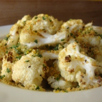 Roasted Cauliflower with Gremolata Bread Crumbs (gluten-free)