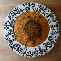 Cauliflower Kofta in Creamy Tomato Gravy (pan fried instead of deep fried)