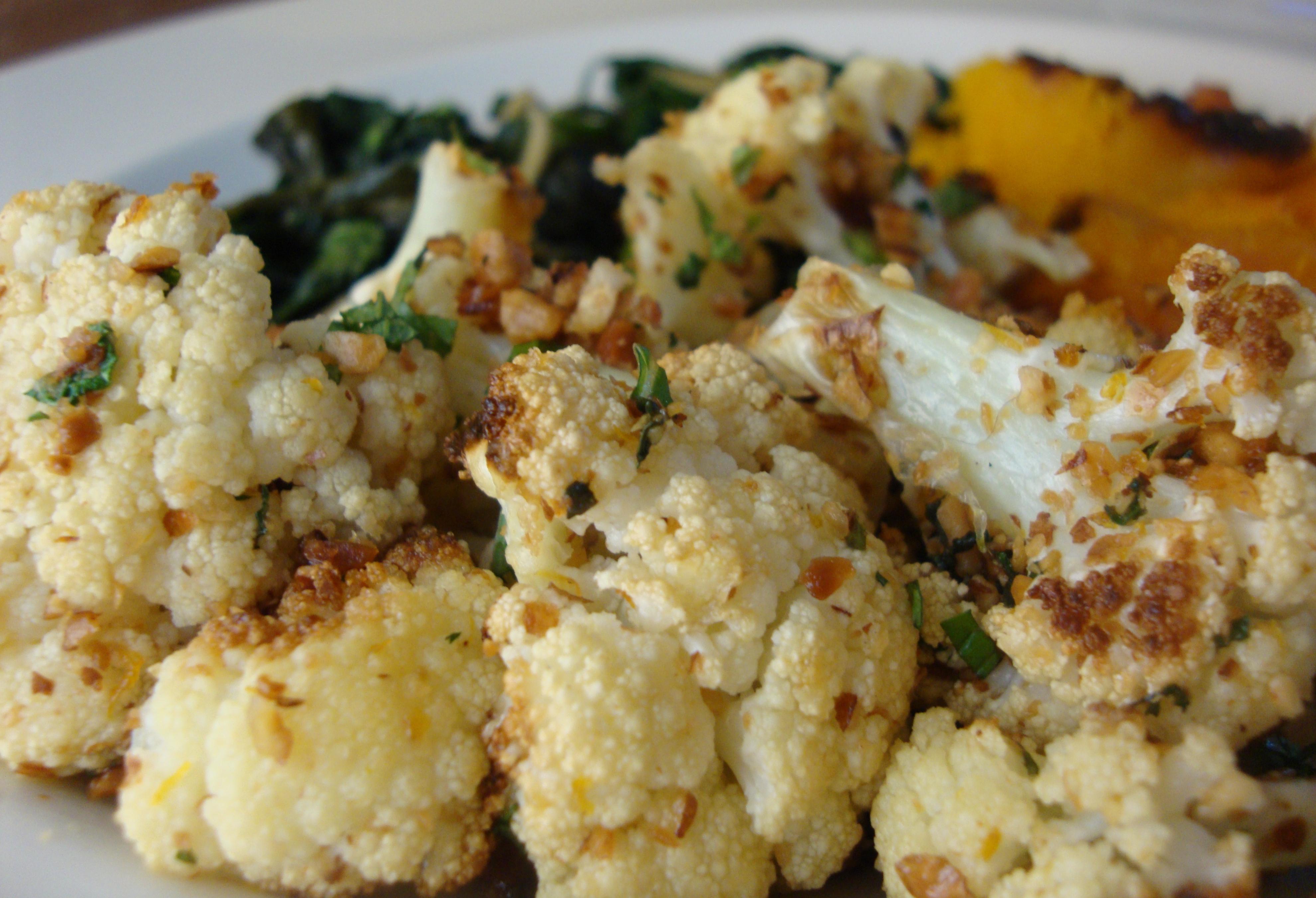 Roasted Cauliflower with Gremolata Bread Crumbs (gluten-free