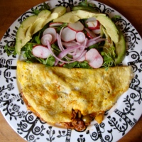 Picadillo Omelet with a salad