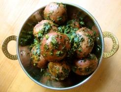 Tiny New Potatoes Smothered in Fenugreek and Butter https://bigsislittledish.wordpress.com/2012/03/10/tiny-new-potatoes-and-aromatic-greens-steamed-in-butter/