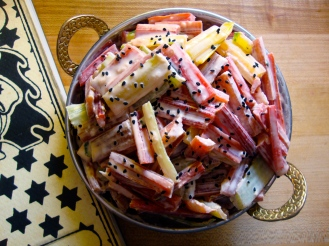 Swiss Chard Stems with Tahini https://bigsislittledish.wordpress.com/2012/03/17/swiss-chard-stems-with-tahini/