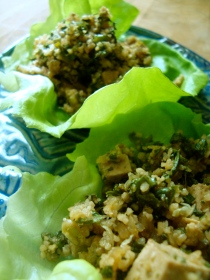 Tofu Salad with Mint and Roasted Rice Powder http://bigsislittledish.wordpress.com/2012/04/11/tofu-salad-with-mint-and-toasted-rice-powder/
