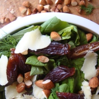 Arugula and Herb Salad with Dates, Almonds and Sheep Cheese