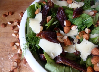 Arugula and Herb Salad with Dates, Almonds and Sheep Cheese https://bigsislittledish.wordpress.com/2012/04/02/arugola-and-herb-salad-with-dates-almonds-and-sheep-cheese/