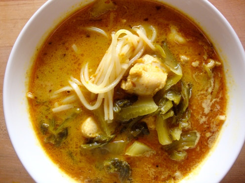 Curried Chicken Noodle Soup with Pickled Mustard https://bigsislittledish.wordpress.com/2012/04/21/curry-chicken-noodle-soup-with-pickled-mustard-to-sooth-seasonal-allergies/