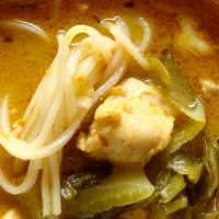 Curry Chicken Noodle Soup with Pickled Mustard (to sooth seasonal allergies)