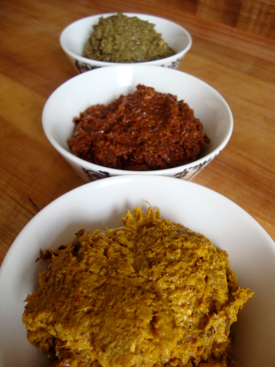 Red, Yellow and Green Thai Curry Pastes