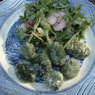 Nettle and Ramp Gnuddi (gluten-free) https://bigsislittledish.wordpress.com/2012/05/01/naked-and-imperfect-nettle-and-wild-garlic-dumplings-gluten-free-rocket-and-radish-salad-with-walnut-vinaigrette/
