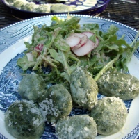 Naked and Imperfect Nettle and Wild Garlic Dumplings (Gluten-Free), Rocket and Radish Salad with Walnut Vinaigrette