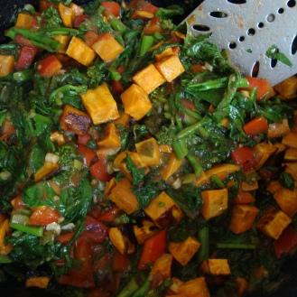 Yams and Broccoli Rabe https://bigsislittledish.wordpress.com/2012/11/08/bittersweet-side-dish-broccoli-rabe-and-roasted-yams/