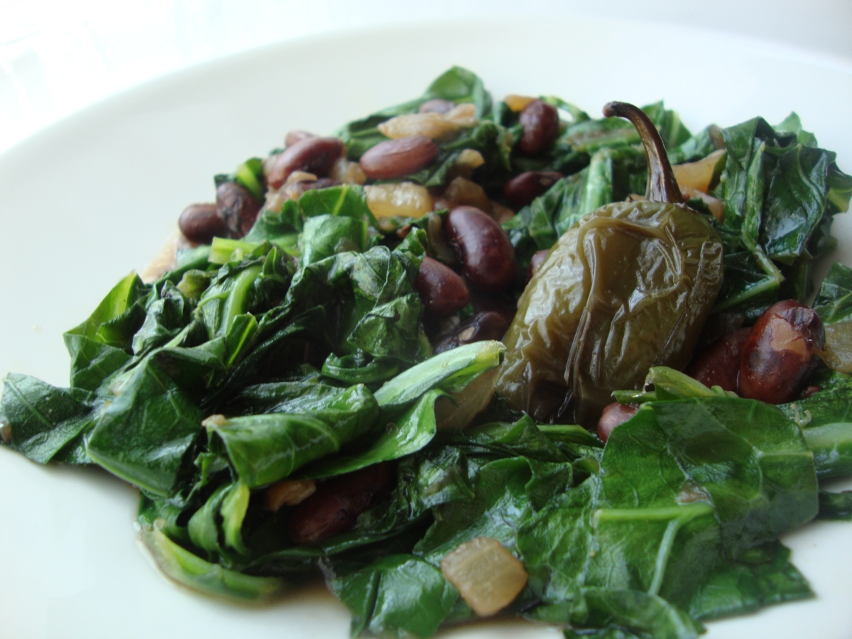 Rio Zape Pot Beans with Collards and Roasted Garlic and Jalapeno
