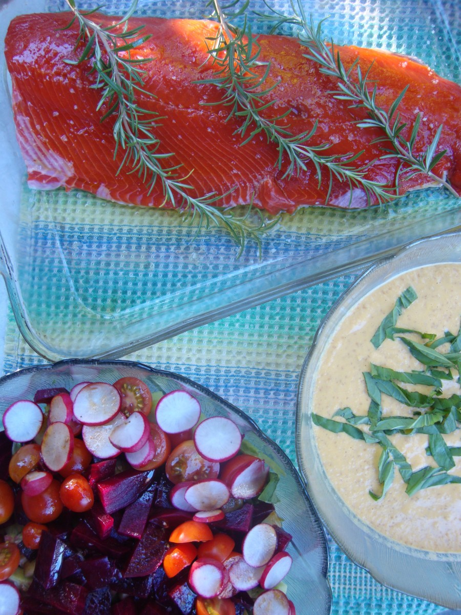 All Salmon, All TheTime                                        Ieva's Salmon/ Ground Cherry and Almond Sauce