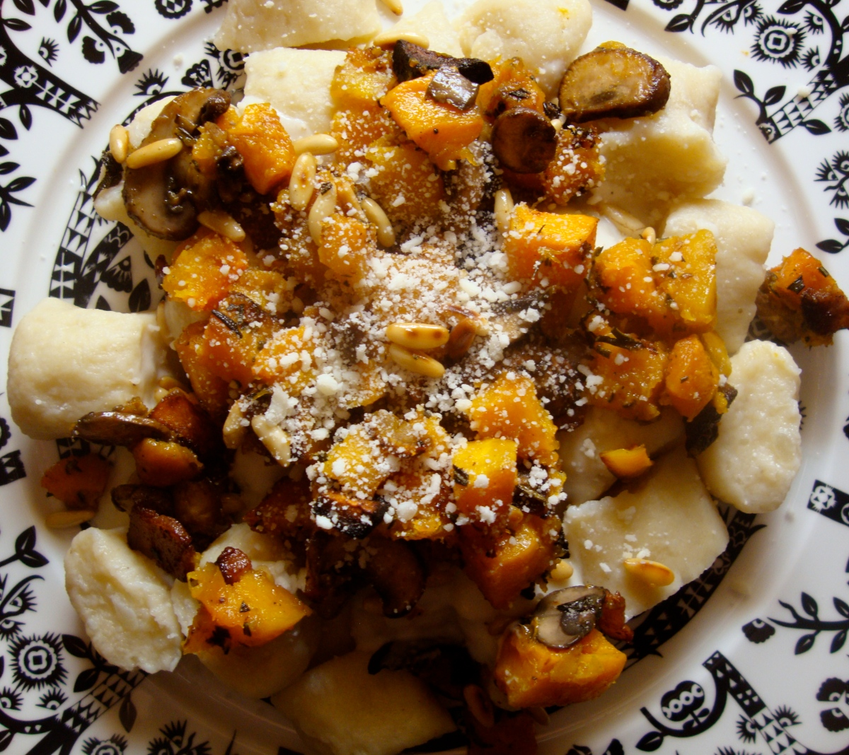 Chestnut Gnocchi with Squash, Mushrooms and Rosemary