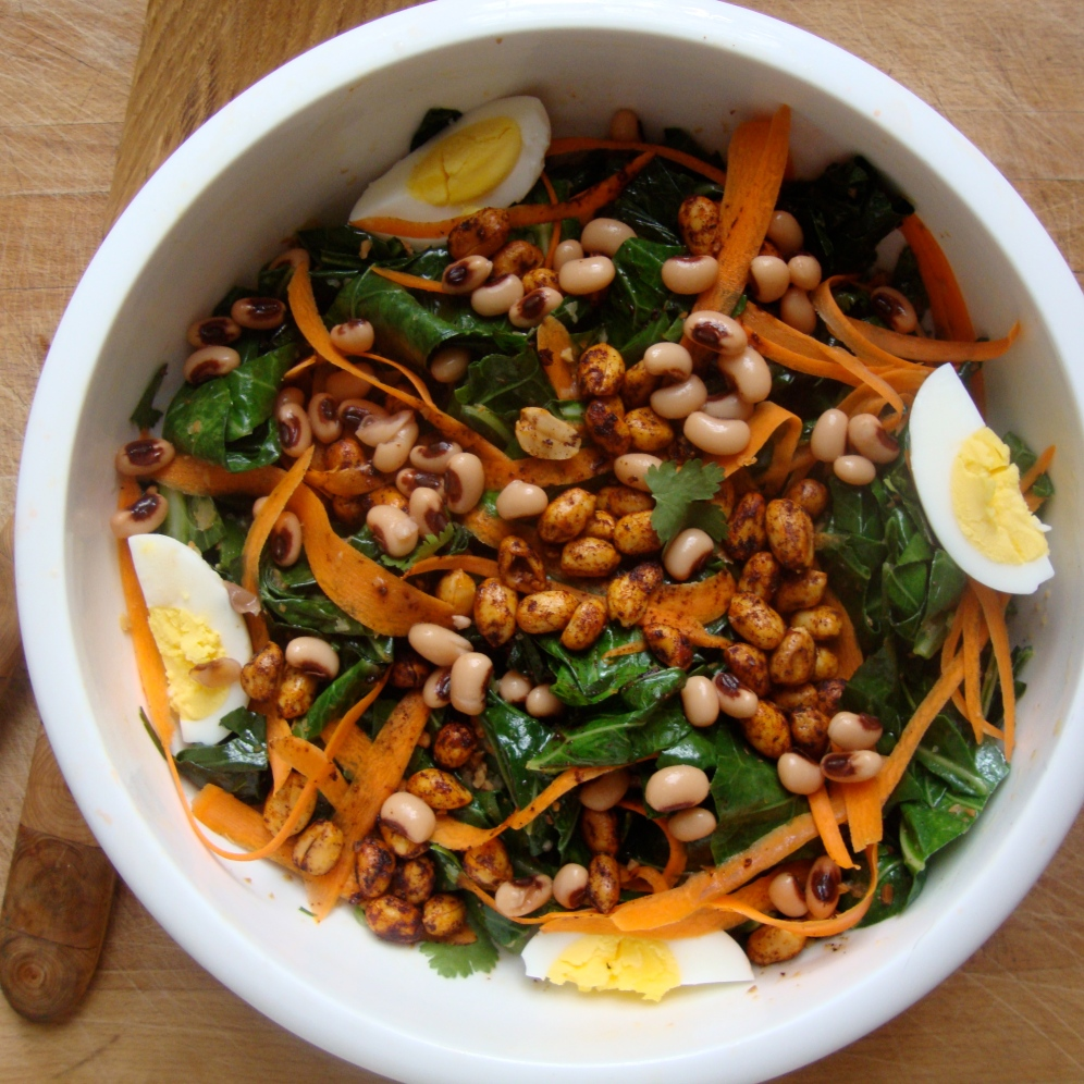 WIlted Collard Green Salad with Peanuts and Black Eyed Peas https://bigsislittledish.wordpress.com/2012/12/29/wilted-collard-green-salad-with-peanuts-and-black-eyed-peas/