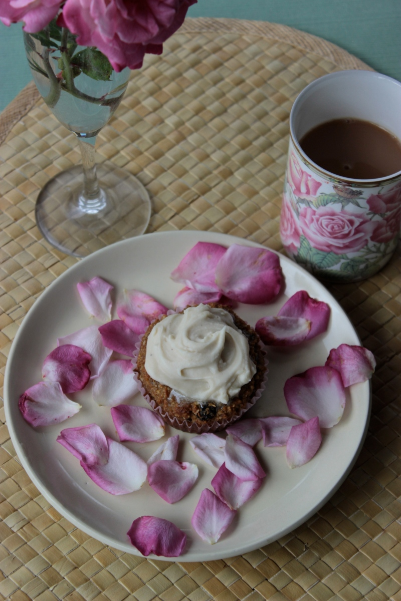 Carrot Cardamom Muffins with Coconut Rosewater Icing (Gluten-Free)