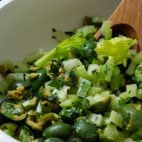 Crushed Green Olive Salad with Celery and Mint