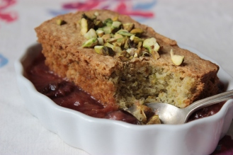 Gluten-Free Pistachio FInancier with Rhubarb Cherry Compote https://bigsislittledish.wordpress.com/2013/05/25/pistachio-financiers-with-rhubarb-and-sour-cherry-compote-gluten-free/