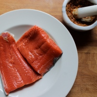 Salmon Marinated in Spiced Yogurt (grilled or baked) with Rhubarb Chutney