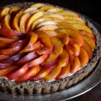 Fresh Nectarine Tart with a Hazelnut Crust and Rose Glaze (gluten-free)