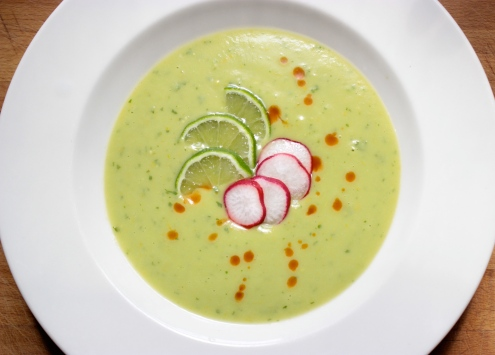 Cold Avocado Soup https://bigsislittledish.wordpress.com/2013/08/28/chilled-avocado-soup-last-minute-cold-soup-roundup/