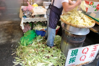 LOTS of steamed corn in DOngmen MArket