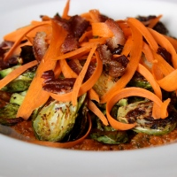 Roasted Brussel Sprouts with Kim Chee Sauce