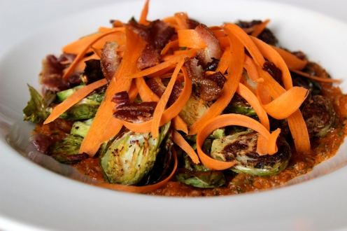 Roasted Brussel Sprouts with Kim Chee Sauce https://bigsislittledish.wordpress.com/2013/11/16/roasted-brussel-sprouts-with-kim-chee-sauce/