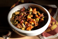 Roasted Brussel Sprouts with Chorizo https://bigsislittledish.wordpress.com/2013/12/11/roasted-brussel-sprouts-with-chorizo-a-story-about-my-cat/