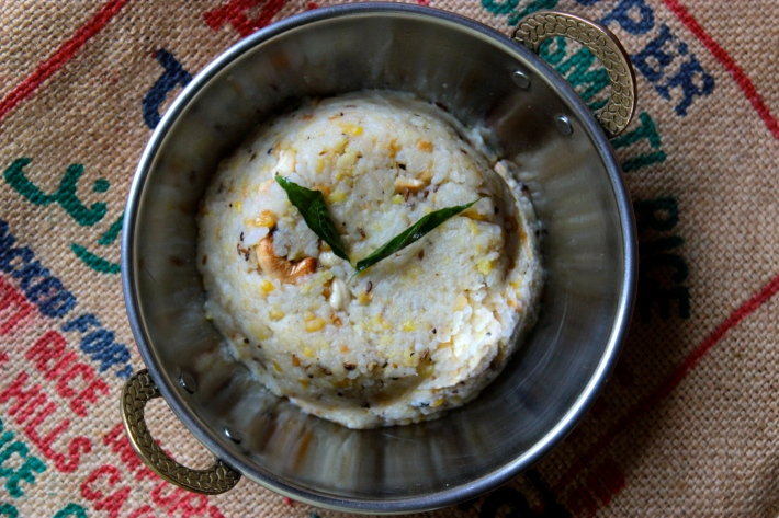 Rice and Moong Dal Pudding with Black Pepper, Cumin and Ginger (Ven Pongal)