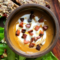 Kabocha Pumpkin and Chestnut Soup with Chorizo