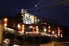 A beautifully lit teahouse in Juifen.