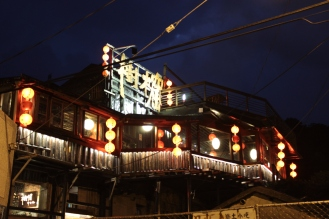 A beautifully lit teahouse in Juifen.