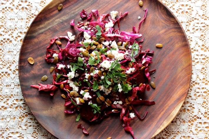 Ruby Salad with Feta and Spicy Pepitas