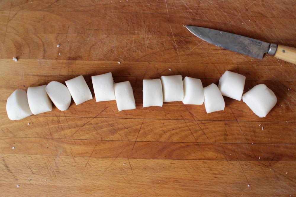 gluten-free dumpling dough cut into pieces