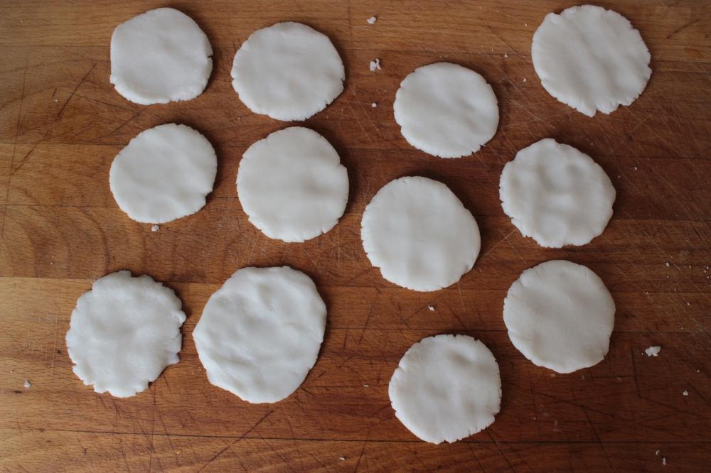 flattened lumps of gluten-free dumpling dough