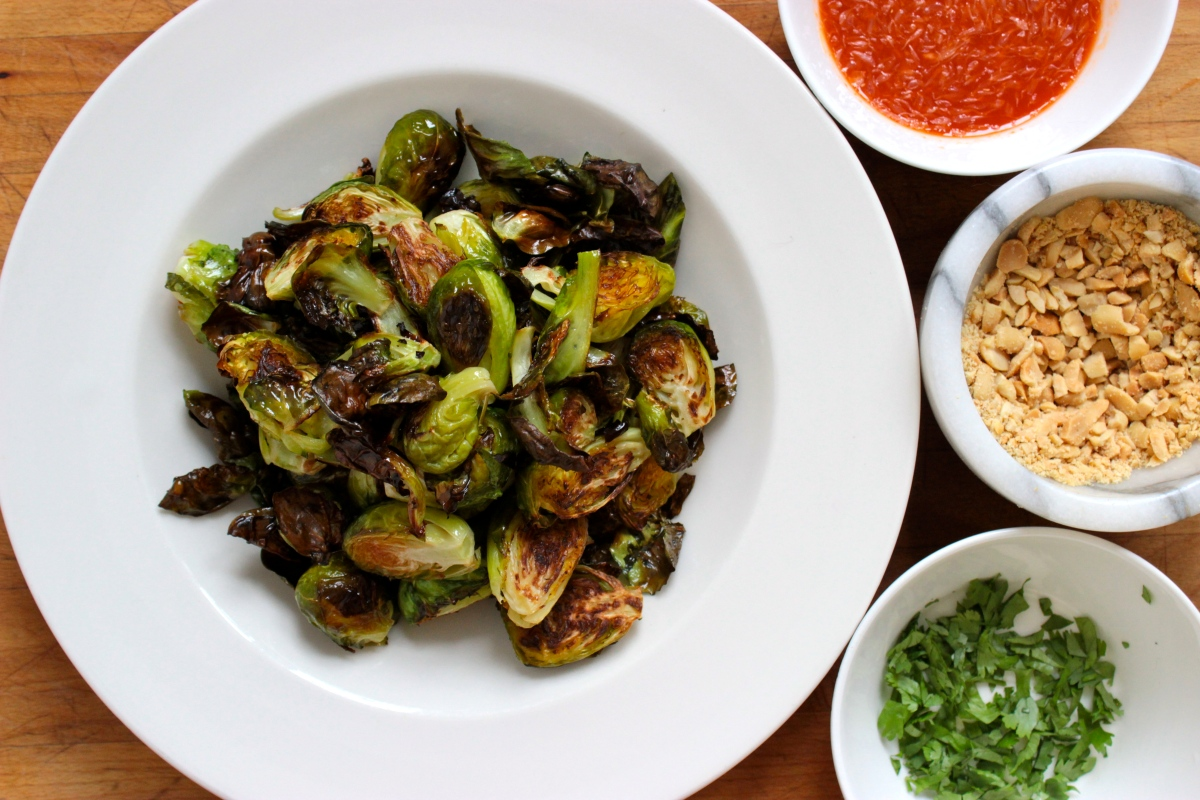 Roasted Brussel Sprouts with Sweet Lime Sriracha Sauce