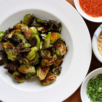 Roasted Brussel Sprouts with Honey Lime Sriracha Sauce https://bigsislittledish.wordpress.com/2014/03/07/roasted-brussel-sprouts-with-honey-lime-sriracha-sauce/