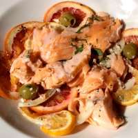 Slow Roasted Salmon with Citrus, Fennel and Green Olives